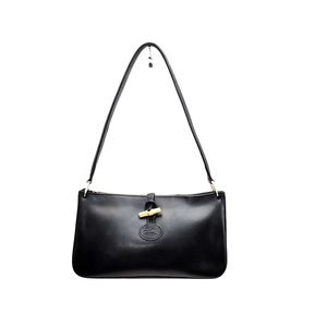 Longchamp Black Leather w/ Gold Bamboo Bag